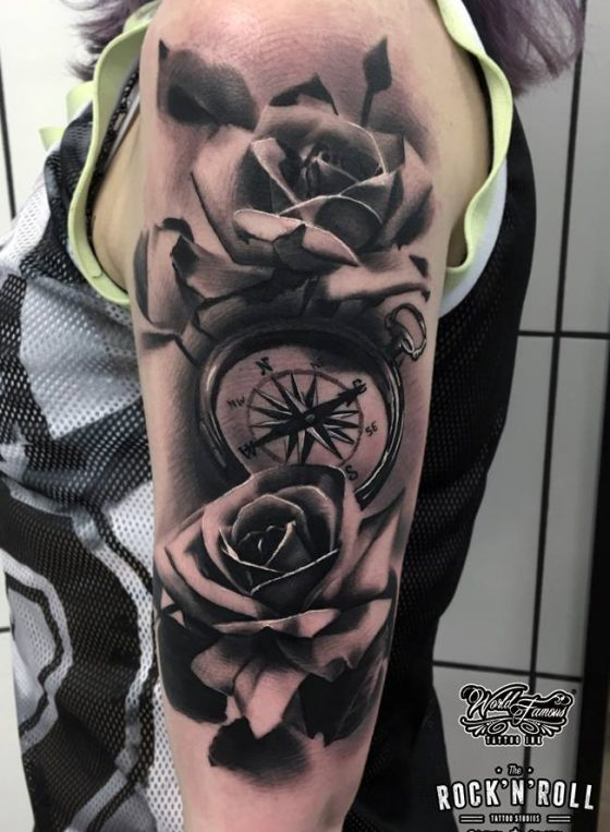 Black And Grey Realism Rocknroll Tattoo And Piercing